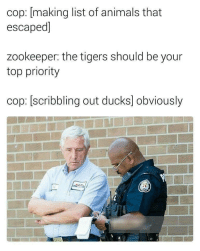 Animals, Ducks, and Tigers: cop: [making list of animals that  escaped]  zookeeper: the tigers should be your  top priority  cop: scri  bbling out ducks] obviously