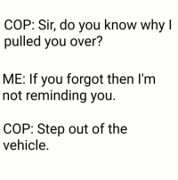 Step, Cop, and Why: COP: Sir, do you know why l  pulled you over?  ME: If you forgot then l'm  not reminding you.  COP: Step out of the  vehicle.