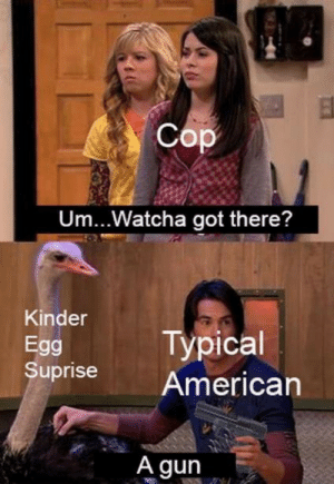 Got There: Cop  Um... Watcha got there?  Kinder  Typical  Egg  Suprise  American  A gun