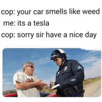 Smells Like Weed: cop: vour car smells like weed  me: its a tesla  cop: sorry sir have a nice day