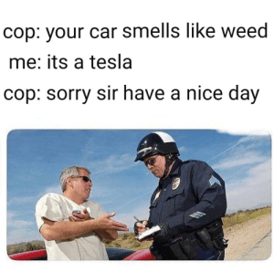 Dank, Memes, and Sorry: cop: vour car smells like weed  me: its a tesla  cop: sorry sir have a nice day Its a Tesla by Shurrshot MORE MEMES