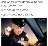 Carry on: cop: what are you doing around here,  playing Pokemon?  guy: nope buying weed  cop: ok good, that shit's gay  drgrayfang Carry on