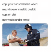 Shit, Weed, and Car: cop: your car smells like weed  me: whoever smelt it, dealt it  cop: oh shit  me: you're under arrest Reverse reverse! 💀 https://t.co/UbaEcVoorq