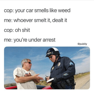 Shit, Weed, and Car: cop: your car smells like weed  me: whoever smelt it, dealt it  cop: oh shit  me: you're under arrest  @pubity When the 4th grade meets the 4th Amendment (i.redd.it)