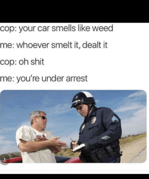 Dank, Memes, and Shit: cop: your car smells like weed  me: whoever smelt it, dealt it  cop: oh shit  me: you're under arrest An interesting title by CherryNukeYT MORE MEMES