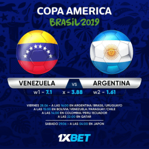 Scaloni's men should scrape through to the next round, and set up a mouth-watering semi-final clash with Brazil. Who are you backing? Get involved: https://t.co/AFbyM01NX8 follow: @1xbet_Eng https://t.co/oFcZIIAZZx: COPA AMERICA  BRASIL2019  ARGENTINA  VENEZUELA  VS  X - 3.88  w2 1.61  w1 - 7.1  VIERNES 28.06 A LAS 16:00 EN ARGENTINA/BRASIL/URUGUAYO  A LAS 15:00 EN BOLIVIA/VENEZUELA/PARAGUAY/CHILE  A LAS 14:00 EN COLOMBIA/PERU/ECUADOR  A LAS 22:00 EN QATAR  SABADO 29.06 A LAS 04:00 EN JAPON  1XBET Scaloni's men should scrape through to the next round, and set up a mouth-watering semi-final clash with Brazil. Who are you backing? Get involved: https://t.co/AFbyM01NX8 follow: @1xbet_Eng https://t.co/oFcZIIAZZx