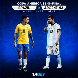 These two great rivals have not met at the Copa America since the 2007 final. What's your prediction for the match? Get involved: https://t.co/53Dti4eS8g follow: @1xbet_Eng https://t.co/gTxf6Cf4Z0: COPA AMERICA SEMI-FINAL  BRAZIL  ARGENTINA  VS  w2 -5  1.9  w1  X 3.3  10  10  FR  1XBET These two great rivals have not met at the Copa America since the 2007 final. What's your prediction for the match? Get involved: https://t.co/53Dti4eS8g follow: @1xbet_Eng https://t.co/gTxf6Cf4Z0