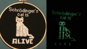 copperbadge: somediyprojects: Schrödinger's Cat stitched by crossstitchwizard. Pattern ($3.21) designed by Cassandra Armstrong of KookyCrossStitch. HOLY SHIT I even have glow in the dark thread. YES.  : copperbadge: somediyprojects: Schrödinger's Cat stitched by crossstitchwizard. Pattern ($3.21) designed by Cassandra Armstrong of KookyCrossStitch. HOLY SHIT I even have glow in the dark thread. YES.