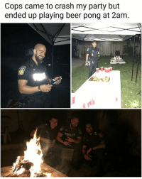 Good cops (img-jennifermarie89)   Follow @aranjevi for more!: Cops came to crash my party but  ended up playing beer pong at 2am. Good cops (img-jennifermarie89)   Follow @aranjevi for more!