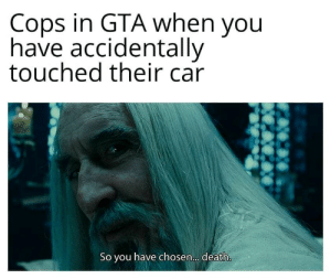 awesomesthesia:  I'm gonna play GTA: Cops in GTA when you  have accidentally  touched their car  So you have chosen... . death. awesomesthesia:  I'm gonna play GTA
