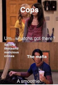 Malicious, Got, and Mafia: Cops  Um.. whatcha got there?  Several  thousand  malicious  crimes  The mafia  A smoothie. This format needs to be used more