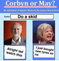 """<p>CORBYN OR MAY - ELECTION SOON - INVEST INVEST INVEST INVEST INVEST via /r/MemeEconomy <a href=""""http://ift.tt/2qRppNY"""">http://ift.tt/2qRppNY</a></p>: Corbyn or May?  Be informed. Compare them on the issues that matter  Issue Do a skid  Alright lad  watch this  I just bought  new tyres so  no <p>CORBYN OR MAY - ELECTION SOON - INVEST INVEST INVEST INVEST INVEST via /r/MemeEconomy <a href=""""http://ift.tt/2qRppNY"""">http://ift.tt/2qRppNY</a></p>"""