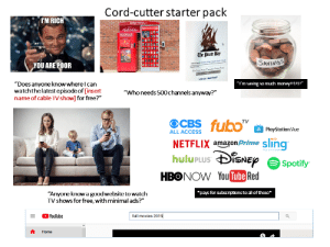 """Amazon, Amazon Prime, and Money: Cord-cutter starter pack  IM RICH  DVD RENTALS  redbox  NEW RELEASE  The Pirate Bay  SAVINGS  YOU ARE POOR  r  FataCr  Mow de I dewnlead  """"Does anyone know where I can  watchthe latest episode of [insert  name of cable TVshow] for free?""""  """"I'm saving so much money!!11!""""  """"Who needs 500channels anyway?""""  TV  PlayStation Vue  ALL ACCESS  NETFLIX amazon Prime sling  huluPLUS DiSNEp  TELEVISION  Spotify  HBONOW You Tube Red  """"Anyone know a goodwebsite to watch  TV shows for free,with minimal ads?""""  pays for subscriptions to all of these*  full movies 2019  YouTube  Home Anti-cable TV cord-cutter starter pack"""