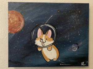 Corgi, Tumblr, and Appreciate: corgikistan:  Here's the Space Corgi my girlfriend painted for me as a graduation gift, figured you all would appreciate it as much as I do