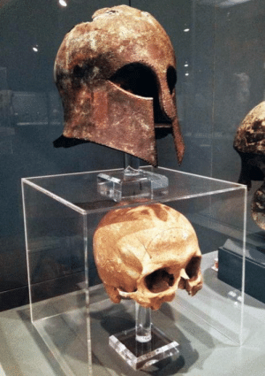Corinthian helmet from the Battle of Marathon (490 BC) found with the warriors skull inside.: Corinthian helmet from the Battle of Marathon (490 BC) found with the warriors skull inside.