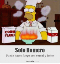 Memes, Lost, and 🤖: CORN  FLAKES  MILK  Solo Homero  Puede hacer fuego con cereal y leche  lost  trolls