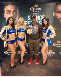 """Beer, Memes, and Fight: Corona.  Extra  PRESENTS  SO NCT  0  oron  Extra  E:  0  0  orona. C  Extra  Extra  0  responslbly Corona Extra"""" Beer. Imported by Crown Imp What a great fight! @errolspencejr came out with another TKO victory! strapseason errolspencejr thetruth"""