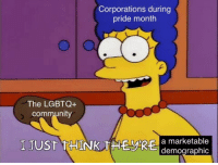 Marketable, Pride, and Corporations: Corporations during  pride month  The LGBTQ+  commun  I JUST THINK THEyke  a marketable  demographic