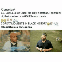 Ice Cube, Memes, and Horror Movies: *Correction  L.L. Cool J. & Ice Cube, the only 2 brothas, l can think  of that survived a WHOLE horror movie.  2 GREAT MOMENTS IN BLACK HISTORY  😂😂😂😂😂😂 flashbackfriday fbf pettypost pettyastheycome straightclownin hegotjokes jokesfordays itsjustjokespeople itsfunnytome funnyisfunny randomhumor icecube llcoolj