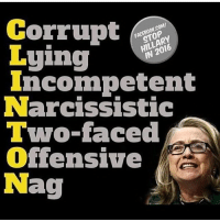 I hope Hillary Clinton crawled back into the hell hole she came out of: Corrupt  Luing  Incompetent  Narcissistic  Two-faced  Offensive  Nag I hope Hillary Clinton crawled back into the hell hole she came out of