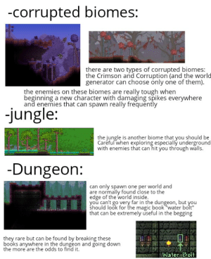 """Books, Book, and Magic: -corrupted biomes:  there are two types of corrupted biomes:  the Crimson and Corruption (and the world  generator can choose only one of them).  the enemies on these biomes are really tough when  beginning a new character with damaging spikes everywhere  and enemies that can spawn really frequently  jungle:  the jungle is another biome that you should be  Careful when exploring especially underground  with enemies that can hit you through walls.  -Dungeon:  can only spawn one per world and  are normally found close to the  edge of the world inside.  you can't go very far in the dungeon, but you  should look for the magic book water bolt""""  that can be extremely useful in the begging  they rare but can be found by breaking these  books anywhere in the dungeon and going down  the more are the odds to find it.  Water Bolt A few tips for pewds if he is going to continue the terraria series."""