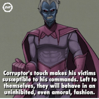 Fashion, Memes, and Marvel: Corruptor's touch makes his victims  susceptible to his commands. Left to  themselves, they will behave in an  uninhibited, even amoral, fashion. Corruptor!!! 😈 corruptor marvel marvelfact fact facts marvelfacts comic comics interesting touch corrupt corruption svf villains supervillains geek