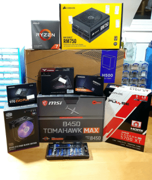 """Black Friday build - Second ever build and been 10 years since the last! Super excited for this!: CORSAIR  CORSAIR RM750  80  AMDA  PORPERAL LATA  RYZEN  RM SERIES  PLUS  GOLD  RM750  PERPYERAL ATA WIPOLNON  (10  Apples  Performance ATX Power Supply  Alimentation ATX Hautes Performances  3 GEN PROCESSOR  PCIE4.0 READY  MIx  BAWST  PRO  DARK  TFORCE  DDR4 GING  H500  TFORCE  8PACK Edition  SAMSUNG  IID-TOWER  1TB  SAMSUNG  Solid State Drive  250GB  V-NAND SSD  570 0  860 EVO SATA 6GBAS  XT  SAMSUNG  TLAMCROUP G  SAPPHIREÉ  CLUM-1-4 135  TOPPDAS OCIIADCO  rC CC  The SSD that makes the difference  THE POWER FROM TEAM GROUP  8.  4.0  GB  PCle  SAPPHIRE  GODRG  PCLEXPRESS SUPPORT  PULSE  V-NAND SSD  PORSGEINIPAN  msi  970 EVO Plus NVME M2  GAMING  TATIT  HYPER 212 RGB BLACK EDITION  Cartified CCompacbie h  RGB  COOLER  MASTER  M OTH ERBOARD  AM D  Make It Yours.  B450  OVERCLOCK  L-הו  VIIGH DEFINITION MULTEDIA INTERFACE  TOMAHAWK MAX  AMDA  RADE ON RX  5700 XT  IB450  AMDA  SOCKET  AM4  RYZEN  7 NM  AHD RYZEN J000 OFSKTOP READY  FIDELITY FXI FREESYNC 2 HDR  OlExpress"""" 30 