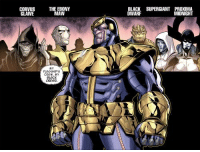 "Memes, Avengers, and Ebony: CORVUS  GLAVE  THE EBONY  MAW  MY  CREW. My  eLACK  BLACK SUPERGIANT PROXIMA  DWARF  MIDNIGHT The Black Order is Thanos' ""flagship crew"" in recent comics and animated iterations when Thanos makes his grand entrance. Do you think they'll show up when he comes to town in AVENGERS: INFINITY WAR?  Sound off in the comments below!!  (Tim Costello)"