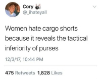 Women, Irl, and Me IRL: Cory  @ihateyall  Women hate cargo shorts  because it reveals the tactical  inferiority of purses  12/3/17, 10:44 PM  475 Retweets 1,828 Likes me irl