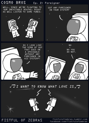 Facebook, Omg, and Tumblr: COSMO BROS Ep. 2: Foreigner  WELL SINCE WE'RE FLOATING TO  OUR INEVITABLE DEATHS MIGHT  AS WELL LISTEN TO SOME TUNES  GOT ANY FOREIGNER  IN YOUR SYSTEM?  NO  DO I L0OK LIKE  THE KIND ỌF GUY  THAT GOES ON  A SPACEWALK  WITHOUT ANY  FOREIGNER IN  HIS SYSTEM?!  NO YOU  DO NOT.  Lf  FISTFUL OF ZEBRAS  fistfulofzebras tumblr.com  facebook.com/fistfulofzebras omg-images:  Foreigner
