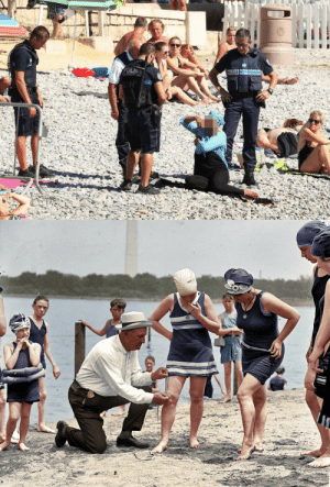 Clothes, Police, and Too Much: cosmos-dreams: fucknosexistcostumes:  Police making a woman take off her clothing at the beach because she's wearing too much, 2016 Police measuring a woman's clothing because she's wearing too little, 1922  Wow almost as if the clothes weren't the problem and men just want to control women