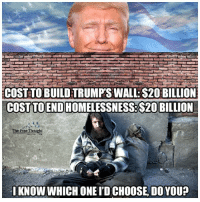 Memes, 🤖, and Build A: COST TO BUILDTRUMPS WALL-$20 BILLION  COST TOENDHOMELESSNESSB$20 BILLION  The Free Thought  I KNOW WHICH ONEID CHOOSE, DO YOUP We could Build a Wall, or End Homelessness... I know which one I'd Choose, Do You?  Join Us: The Free Thought Project
