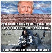 Memes, 🤖, and Idiocy: COST TO BUILDTRUMPS WALL S20BILLION  COST TO END  The Free Thought  I KNOW WHICHONEID CHOOSE DO YOU? #SWAMPCOUNTRY.... Get your priorities right America!! your Idiocy is showing  ~lex