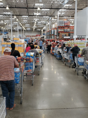 Costco in San Antonio where everyone is stockpiling toilet paper and bottled water in reaction to COVID-19: Costco in San Antonio where everyone is stockpiling toilet paper and bottled water in reaction to COVID-19