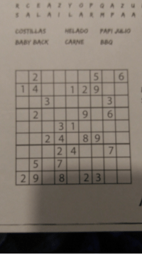 "<p><a href=""http://memehumor.net/post/164906708863/the-sudoku-in-the-back-of-a-table-mat"" class=""tumblr_blog"">memehumor</a>:</p>  <blockquote><p>The Sudoku in the back of a table mat</p></blockquote>: COSTRLAS HELADO PAPI  BABY BACK CARNE BBQ  5 6  9 6  2 4  2 9 8  2 3 <p><a href=""http://memehumor.net/post/164906708863/the-sudoku-in-the-back-of-a-table-mat"" class=""tumblr_blog"">memehumor</a>:</p>  <blockquote><p>The Sudoku in the back of a table mat</p></blockquote>"