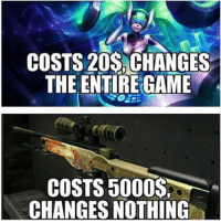 Shots fired at CSGO! #LeagueOfLegends #CSGO Realm: COSTS 20s CHANGES  THE ENTIREGAME  COSTS 5000  CHANGES NOTHING Shots fired at CSGO! #LeagueOfLegends #CSGO Realm