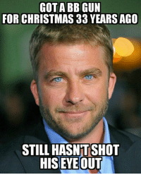 Well I'll be damned: COTABBIGUN  FOR CHRISTMAS 33 YEARS AGO  STILL HASNTSHOT  HIS EYE OUT Well I'll be damned