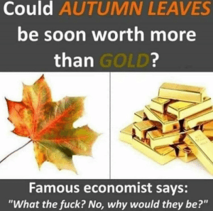 "I dunno, I reckon it might still happen: Could AUTUMN LEAVES  be soon worth more  than GOLD?  Famous economist says:  ""What the fuck? No, why would they be?"" I dunno, I reckon it might still happen"