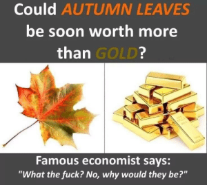"fuck no: Could AUTUMN LEAVES  be soon worth more  than GOLD?  w  Famous economist says:  ""What the fuck? No, why would they be?"""