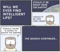Donald Trump, Memes, and Libertarianism: COULD IT BE  RIGHT HERE  WILL WE  ON EARTH?  EVER FIND  INTELLIGENT  COULD IT  LIFE?  BE THIS  VERY MAN?  DONALD TRUMP  IS GOING TO  DRAIN THE SWAMP  THE SEARCH CONTINUES... From A Libertarian Future
