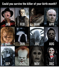 9gag, Halloween, and Memes: Could you survive the iller of your birth month?  MAY JUN  SEP  NOV  DEC May the odds be ever in your favor⠀ halloween spooktober horror 9gag