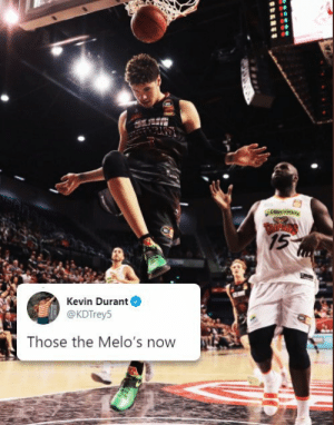 KD's response to LaMelo Ball wearing his shoes.  Via @brkicks https://t.co/TMHhqVhVeK: couniversiay  TARPROS  15  Kevin Durant  @KDTrey5  Those the Melo's now KD's response to LaMelo Ball wearing his shoes.  Via @brkicks https://t.co/TMHhqVhVeK