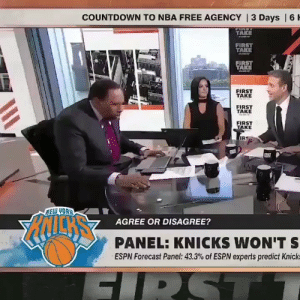Countdown, Espn, and New York Knicks: COUNTDOWN TO NBA FREE AGENCY | 3 Days | 6 H  TAKE  eww  FIRST  TAKE  FIRST  TAKE  FIRST  TAKE  FIRST  TAKE  FIRST  TAKE  IR  NELW YOAH  AGREE OR DISAGREE?  PANEL: KNICKS WON'T S  ESPN Forecast Panel: 43.3% of ESPN experts predict Knick  FIRST Man City scores a late winner against Tottenham  VAR:  https://t.co/yV6QIPmt89