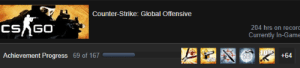 69 achievements: Counter-Strike: Global Offensive  CSAGO  204 hrs on record  Currently In-Game  Achievement Progress 69 of 167  +64  20  250 69 achievements