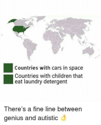 Cars, Children, and Laundry: Countries with cars in space  Countries with children that  eat laundry detergent  There's a fine line between  genius and autistic <p>¿Y lo de Carrero?</p>