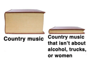 Music, Country Music, and Alcohol: Country music Country music  that isn't about  alcohol, trucks,  or women Galatians 4:16
