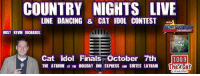 Cats, Dancing, and Finals: COUNTRY NIGHTS LIVE  LINE DANCING & CAT IDOL CONTEST  HOST KEVIN RICHARDS  Crunch  Media  Cat Idol Finals October 7th 1009  THE ATRIUM AT THE HOLIDAY INN EXPRESS AND SUITES LATHAM The Country Nights Live Finale is tonight! 2 hrs of Line Dancing and then the conclusion of 100.9 The Cat's Idol contest! Plus someone there will win a trip to the 50th Anniversary CMA's in Nashville!* Air, Hotel, Party Passes....  Now in the Atrium room with massive line dancing space! Hosted by Kevin Richards Brought to you by Northstar Chevrolet- Clifton Park & Saratoga & Big Crunch Media *No purchase necessary, must be present to win. Full details at www.1009thecat.com