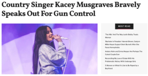 Kacey Musgraves just used her Lollapalooza set as a call for action on Sunday following the mass shootings this weekend in El Paso, Texas, and Dayton, Ohio.Read it here: Country Singer Kacey Musgraves Bravely  Speaks Out For Gun Control  MOST READ  The Hills' And The Way Justin Bobby Treats  Women  Bachelor in Paradise': Hannah Brown, Caelynn  Miller-Keyes Support Demi Burnett After She  Faces Homophobia  Anders Holm and Emma Nesper Are Perhaps The  Cutest Couple Ever  Reconciling My Love of Drake With His  Problematic History With Underage Girls  5 Women on What It's Like to Be Raped by a  Boyfriend Kacey Musgraves just used her Lollapalooza set as a call for action on Sunday following the mass shootings this weekend in El Paso, Texas, and Dayton, Ohio.Read it here