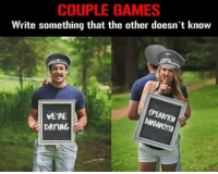 Couples Games https://t.co/P3X4YiPp3F: COUPLE GAMES  Write something that the other doesn t know  VE'RE  DATING Couples Games https://t.co/P3X4YiPp3F