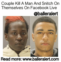 "Memes, 🤖, and Gun: Couple Kill A Man And Snitch On  Themselves on Facebook Live  @baller alert  Read more: www.balleralert.com Couple Kill A Man And Snitch On Themselves On Facebook Live - blogged by: @eleven8 ⠀⠀⠀⠀⠀⠀⠀⠀⠀ (swipe for more) ⠀⠀⠀⠀⠀⠀⠀⠀⠀ A couple in Dallas is facing a lengthy jail sentence over their involvement in the fatal shooting of 19-year-old Drekeiston Alex last week. ⠀⠀⠀⠀⠀⠀⠀⠀⠀ ⠀⠀⠀⠀⠀⠀⠀⠀⠀ AshleyColeman, 27, and her boyfriend Hakeem Leprince Griffin-White, 17, are accused of murdering DrekeistonAlex as he walked through a parking lot in the 4800 block of Sunnyvale Street, near East Ledbetter Drive around 2:40 p.m. According to reports, White and Coleman approached Alex. An argument between White and Alex ensued. As Alex attempted to walk away, White pulled out a gun, shooting Alex in the middle of the street. ⠀⠀⠀⠀⠀⠀⠀⠀⠀ ⠀⠀⠀⠀⠀⠀⠀⠀⠀ White fled in a red Chrysler PT Cruiser driven by Coleman, who acted as the getaway driver. Alex was transported to Baylor Hospital where he was pronounced dead. ⠀⠀⠀⠀⠀⠀⠀⠀⠀ ⠀⠀⠀⠀⠀⠀⠀⠀⠀ Ashley Coleman is an upcoming rapper in Dallas, TX who goes by the stage name MammeKash. She often boasts about being the Bonnie to her 17-year-old boyfriend's Clyde. It's that same bragging that landed both her and her boyfriend in jail. ⠀⠀⠀⠀⠀⠀⠀⠀⠀ ⠀⠀⠀⠀⠀⠀⠀⠀⠀ According to the police affidavit, a FacebookLive video showed Coleman and White ""talking about shooting someone and … handling a firearm and ammunition."" They were also reportedly wearing the same clothes in the Facebook Live stream as the suspects in the surveillance footage of the shooting. ⠀⠀⠀⠀⠀⠀⠀⠀⠀ ⠀⠀⠀⠀⠀⠀⠀⠀⠀ Officers found the PT Cruiser on Friday at an address provided by one of the witnesses who identified the vehicle as Coleman's car. A U-Haul truck was also parked at the home. When police arrived, both vehicles drove away. The PT Cruiser got away, but police were able to stop the U-Haul driver who said he had been paid to help Coleman and White move. After staking out the home another day, police were able to apprehend Coleman after she attempted to flee again. ⠀⠀⠀⠀⠀⠀⠀⠀⠀ ⠀⠀⠀⠀⠀⠀⠀⠀⠀ In Facebook posts Friday, Coleman and White both denied their .....to read the rest log on to BallerAlert.com (clickable link on profile) logon readmore"